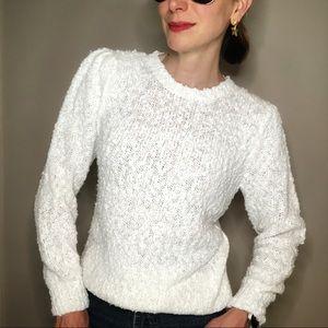 Vintage 80s popcorn knit white ivory sweater S
